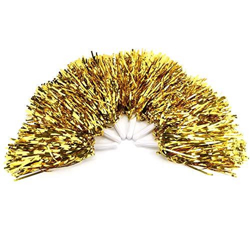 6 Stück Cheerleading Poms, Durable und Lightweight Pompoms Cheer Gorgeous für Jubel Squads, Spieler, Spiele, Partys, Tänzer und Publikum(Golden) (Kostüm Fußball Mädchen Spieler)