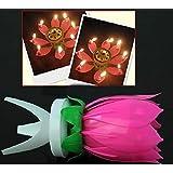 5pcs Bella fiore di loto candela del fiore della festa di compleanno Torta di Musica Sparkle Cake Topper rotante Candela