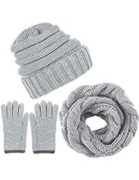 Aneco Winter Warm Beanie Knitted Beanie Hat And Gloves Set Set di Sciarpe e  Guanti per f2093d7f24e4