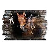Kreative Feder Pferde Designer Schlüsselbrett, Hakenleiste Landhaus Style, Shabby aus Holz 30x20cm, HSB118