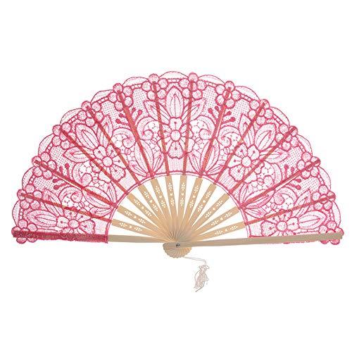 Hochzeit Kostüm Japan - GLITZFAS Faltfächer Folding Fans Hand Fans Bambus Fans Lace Handfächer Hochzeit Dekoration Geschenk Tanzabend Party Kostüm Maske Karnevals (Rosa rot)