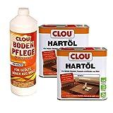 Clou Bodenpflegeset für geölte Holzböden, 1 l Bodenmilch & 2 x 2,5 l Hartöl farblos
