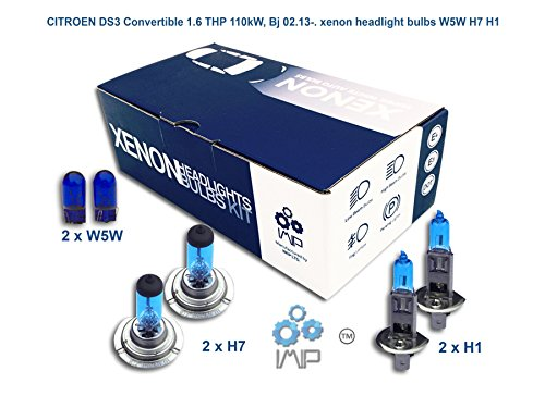 IMIP - CITROEN DS3 Convertible 1.6 THP | Kit d'ampoules de phares au Xenon Super Blanc W5W H7 H1
