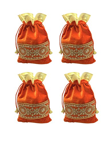 FashBlush Orange and Golden Shagun Gift Pouch Potlis (Set Of 4)