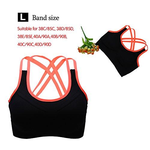 Reggiseno sportivo da donna imbottito con reggiseno sportivo fitness elasticizzato elasticizzato da allenamento senza maniche a canotta Arancio