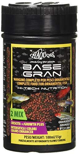 Haquoss Basegran Mangime in Granuli da 1,2/1,5mm per Pesci Tropicali, 100 ml/55 gr