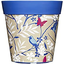 Blue birds plant pot, outdoor/indoor planter (also other patterns and colours)