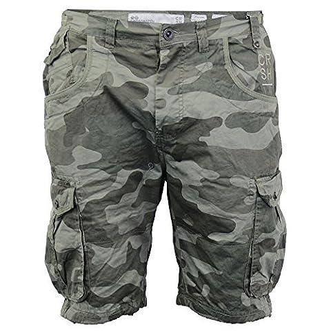 Hommes Crosshatch Camouflage Short Cargo Combat CEINTURE Longueur Genou Jeans Militaire - Olive - FINCAMO, 42 Waist x Regular