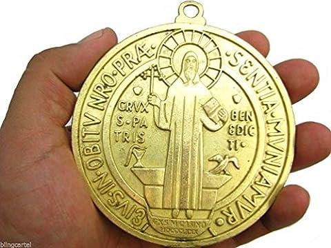 Dancing Pierre Big San Benito Médaille St Médaille Saint Benoît Extra Large ton doré pendentif