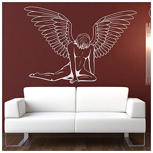 azutura Gefallener männlicher Engel Wandtattoo Engels Flügel Wand Sticker Schlafzimmer Haus Dekor verfügbar in 5 Größen und 25 Farben Mittel Schwarz