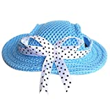 UEETEK Haustier Hund Sunbonnet Mesh Porous Sonnenmütze Hut mit Ohr Löcher für kleine Hunde - Größe M (blau)