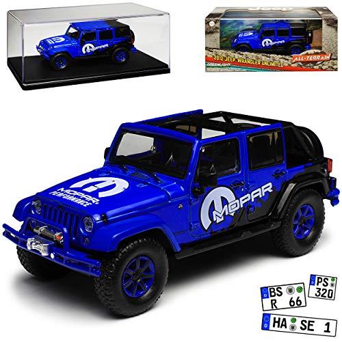 Greenlight Jeep Wrangler Unlimited Rubicon JK 5 Türer Blau Mopar 2007-2018 1/43 Modell Auto - Wrangler Jeep Modell Rubicon