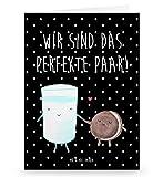 Mr. & Mrs. Panda Grußkarte Milch & Keks - 100% handmade in Norddeutschland - Gutschein, Karte, Einladungskarte, Klappkarte, Einladung, , Grusskarte, Keks, romantisch, Kekse, Pappe, Motiv süß