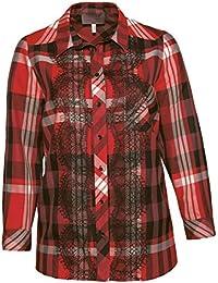 286878ba6eb4a0 Sempre piu Damen Bluse Baumwolle Langarm Rot Kariert mit Spitze Elegant Große  Größen ...
