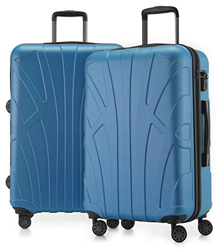 Suitline - 2er Koffer-Set Trolley-Set Rollkoffer Hartschalen-Koffer Reisekoffer, TSA, 66 cm, 100% ABS, Matt, Cyanblau