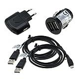 GIGAFOX® 4-teiliges Ladeset: Dual KFZ Adapter + Netzstecker + 2 x Micro USB Datenkabel - für TOLINO Vision 4 HD | Page | Vision | Vision 2 | Vision 3 HD | Shine 2 - für schnelles Laden