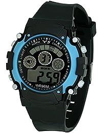 Lemonade Sports Black - Blue Multifunction Fashion 7 Lights Unisex Digital Sports Watch For Kids - ABOVE 10 YEARS