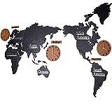 Shhyy Novità Mappa Del Mondo Orologi Da Parete In Legno 3D DIY Sticker Orologi Per Cucina,Soggiorno Decorazione,Blackandbrown