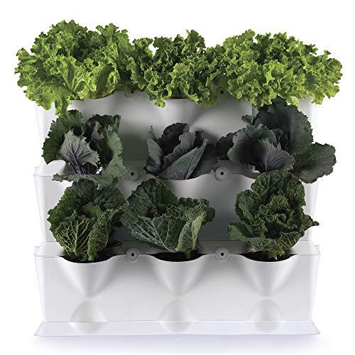 minigarden vertical 1 set per 9 piante, giardino verticale modulare e espandibile, posizionato sul pavimento o fissato al muro, sistema di drenaggio innovativo, lungo ciclo di vita (bianco)