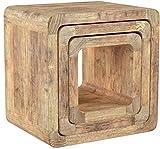 NEG Tisch-Set VINUJA (naturbraun) 3-TLG. Nachttisch/Beistelltisch aus Echtholz (Paulownia)