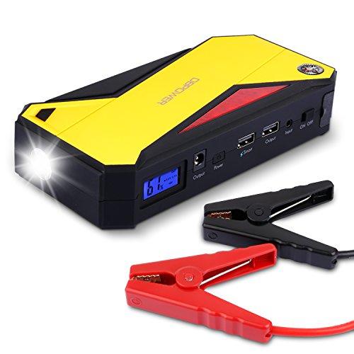 600A Spitzenstrom 18000mAh Tragbare Auto Starthilfe Autobatterie Anlasser, Externes Akku-Ladegerät mit Kompass, LCD Display und LED Taschenlampe für Laptop, Smartphone, Tablet und Vieles Mehr (Schwarz/Gelb)