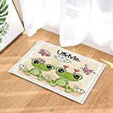 GoHEBE - Alfombrilla baño niños con diseño ranas dibujos animados sobre naranja fondo...