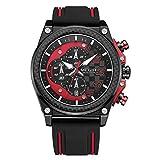 TYWZF Uhren Männer Analog Quarz Armbanduhr Wasserdicht Chronograph Auto Datum Sport Männlich,Red