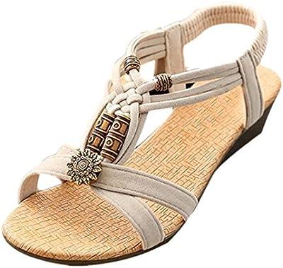 Sandalias mujer plataforma, Culater Zapatos Casual Peep-toe plana hebilla zapatos romano verano
