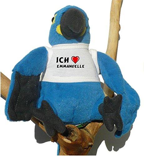Blau Papagei Plüsch Spielzeug mit T-shirt mit Aufschrift Ich liebe Emmanuelle (Vorname/Zuname/Spitzname)