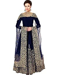 578c74383 Attire Design Women s Embroidered Taffeta Silk Semi Stitched Anarkali Gown  With Dupatta (Semi Stitched Free Size Blue