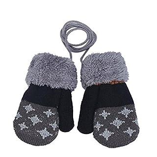 Auxma Baby-Handschuhe für 0-3 Jahre alt Baby-Mädchen-Warmhalte Blatt Handschuhe (Dunkelgrau)