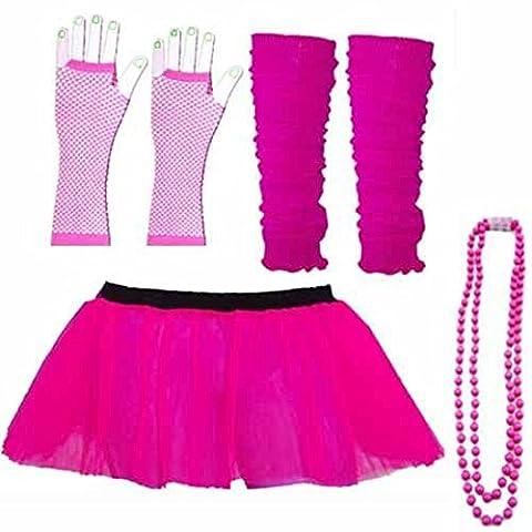 NEON UV Tutu Rock Handschuhe Stulpen Perlen Set Fancy Kleid 80er Party Kostüm Dance Rock Set (Damen: 16–18,