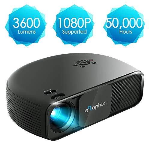Beamer HD, ELEPHAS 1080P LCD Video Projektor mit 3600 Lumen, unterstützt HDMI USB VGA Laptop Smartphone, Ideal für Office Heimkino Entertainment Gaming Party