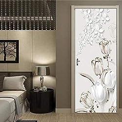 STARKWALL PVC Autocollant De Mur De Porte Imperméable À L'Eau Auto-adhésif 3D Tulipe Stéréo Papillon Fond D'écran 3D Porte Murale Salle De Séjour Étude Home Decor 77x200cm