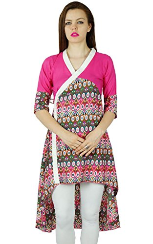 Bimba Frauen angrakha Stil kurta asymmetrische rosa kurti Baumwollbluse indische Kleidung Rosa