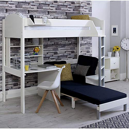 Stompa Casa C White High Bed with Desk and Sofa Bed in a Choice of Colours