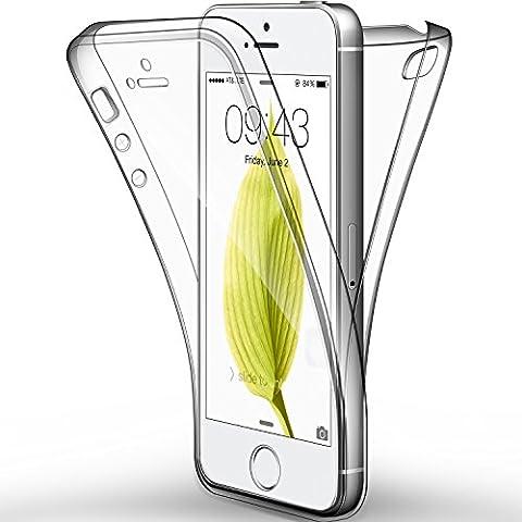 "Coque Etui iPhone SE , iPhone 5 / 5S, Leathlux Silicone Gel Case Avant et Arrière Intégral Full Protection Cover Transparent TPU Housse Anti-rayures pour iPhone SE , iPhone 5 / 5S 4.0"""