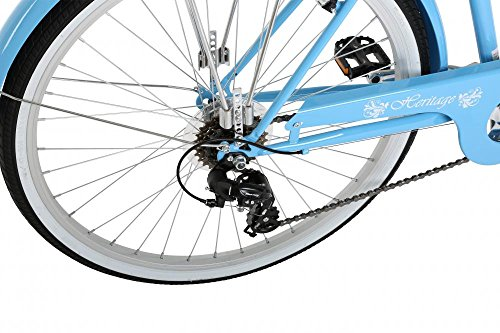 "51cSTfzVQ9L - Classic Heritage Ladies 26"" Wheel 7 Speed 16"" Traditional Bike Bicycle Blue"