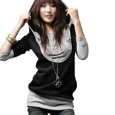 DJT Damen Kapuzen Pullover Jacke Sweatjacke Hoody Tunika Pulli Long Shirt Langarm Style 3 Groesse