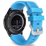 MoKo Kompatibel mit Galaxy Gear S3 Frontier/Classic Armband - Silikon Sportarmband, Blau