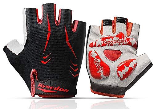 Herren Motorradhandschuhe Sommerhandschuhe Half Finger Breathable Material Anti Slip @ L, für Motorrad Radfahren Klettern