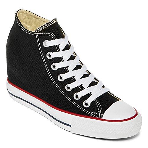 Converse Unisex – Adulto All Star Mid Lux Sneakers con zeppa nero Size: EU 38