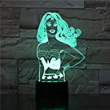 sanzangtang Luce Notturna a LED 3D-Vision-Sette Colori-Telecomando-Anime Atmosfera a Batteria Luce Notturna Colorata Premio remoto con Leadership Giovanile