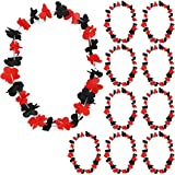 Sonia Originelli 10er Set Blumenkette Hawaiikette ca.102cm Umfang Länder Nationalmannschaften Stoffblüten Fußball Albanien Albania FA003-10