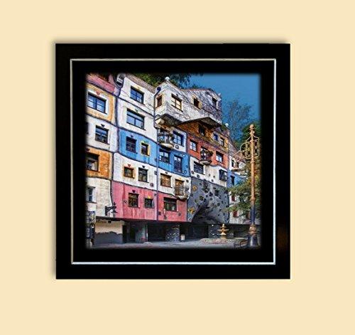 Kunstdruck Bild Hundertwasser Hundertwasserhaus Wien Wohnzimmer Deko 55x55 cm PREIS-HIT!!