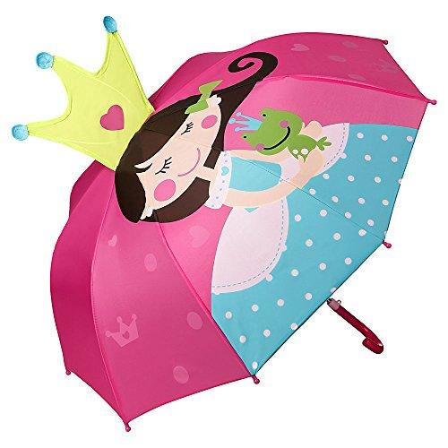 VON LILIENFELD Regenschirm Kind Kinderschirm Junge Mädchen Motiv Prinzessin mit Frosch (bis ca. 8 Jahre)