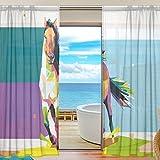 yibaihe Fenster Vorh?nge, Gardinen Platten Voile Drapes T¨¹ll Vorh?nge Geometrical Pferd auf bunten Hintergrund 139,7?cm W x 198,1?cm L 2?Eins?tze f¨¹r Wohnzimmer Schlafzimmer