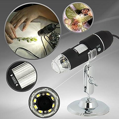 XHtrade Portable 1000x 8 leds USB Microscope numérique Grossissement avec