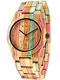 Alienwork Armbanduhr Damen Uhr Bambus Armband Holzarmband Mehrfarbig Quarz Damenuhr Mädchen natürliche Bambus handgefertigt