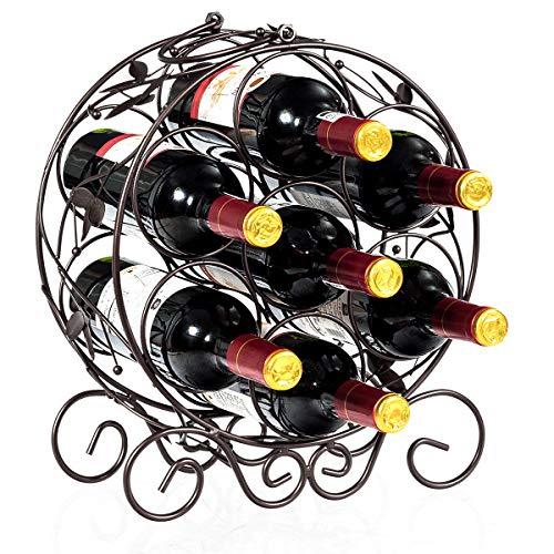 COSTWAY Weinregal Metall, Flaschenregal Klein, Weinflaschenhalter für 7 Flaschen, Weinständer Deko, Flaschenständer Freistehend, Bronze